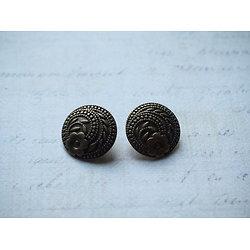 2 boutons gravés de motifs floraux en métal couleur bronze 17mm