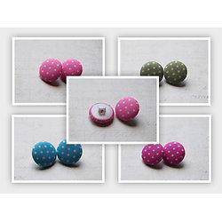 2 boutons ronds en tissu/coton couleur et à pois 17mm