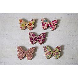 5 boutons papillon en bois et motifs divers 28x21mm