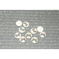 10 boutons en bois clair et papillon 15mm