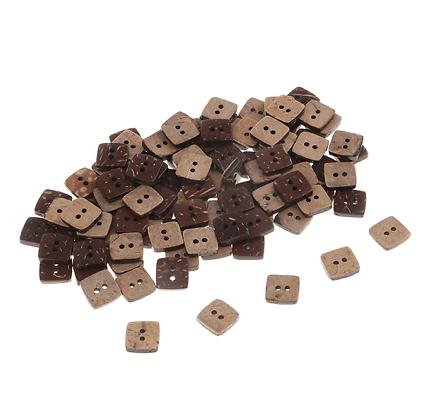10 boutons carré en coco 12mm