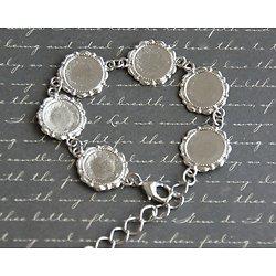 Bracelet à médaillons en métal argenté 24,5cm
