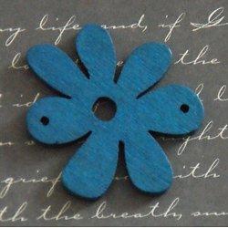 Connecteur fleur bleue en bois 40x33mm