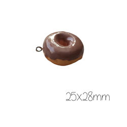 Grande breloque appétissant donut au chocolat 25x28mm