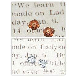 2 perles roses en alu cuivré ou argenté  8x5mm
