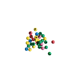 25 mini perles rondes multicolores en métal 3mm