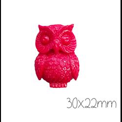 Grande perle chouette rouge en résine 30x22mm