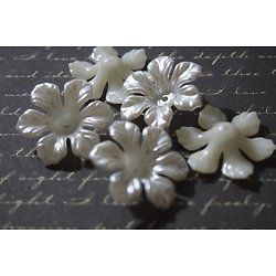 5 grandes perles calottes fleurs en acrylique blanc nacré 26mm