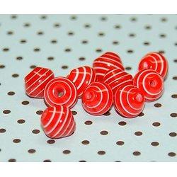 10 perles acrylique rouge et blanc rayées 6/7mm