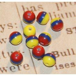 10 perles rondes à rayures bleu, rouge et jaune en acrylique 6mm
