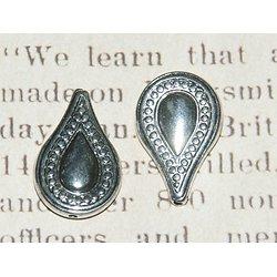 2 perles goutte en acrylique argenté 16x25mm