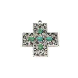 Grande breloque / grand pendentif croix catholique en métal argenté et cabochons ovales turquoise 47x43mm
