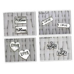 2 étiquettes LOVE en métal argenté