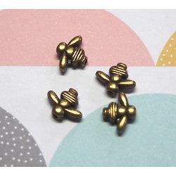 5 Mini perles abeille en métal couleur bronze 8x10,5mm