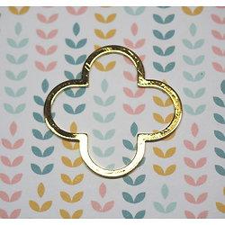 Connecteur fleur / trèfle en métal doré 35mm