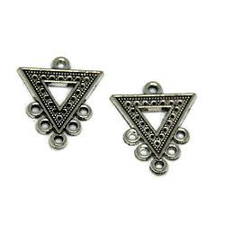 2 connecteurs triangle en métal argenté 24x20mm