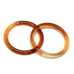 2 grands anneaux connecteurs en acrylique façon écaille de tortue 37mm