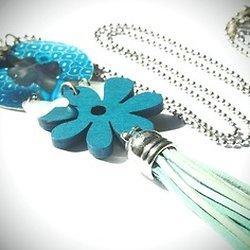 """Sautoir """"Beauté africaine"""", sautoir argenté et bleu, collier original et élégant"""