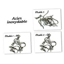 Paire de crochets de boucles d'oreille en acier inoxydable - 3 modèles