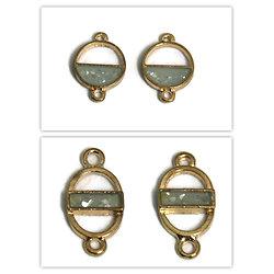 2 connecteurs en métal doré et résine façon opale
