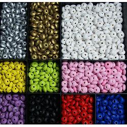 50 perles lentilles en bois peint 10mm