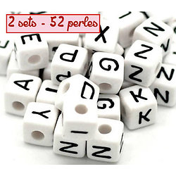 Perles alphabet - 2 sets - 52 perles en acrylique 10mm