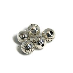 5 perles rondes massives ethniques gravées en métal argenté 8,5x9mm