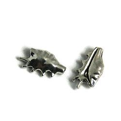 2 perles coquillage en métal argenté 16,5x9mm