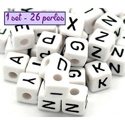 Perles alphabet - 1 set - 26 perles en acrylique 10mm