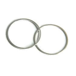 2 anneaux ronds fermés en métal argenté 25mm