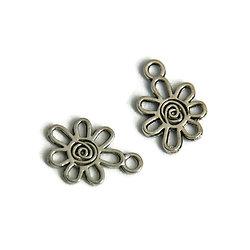 2 breloques fleur à spirale en métal argenté 17x12mm