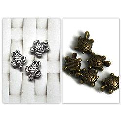 5 mini perles tortue en métal 9x7mm