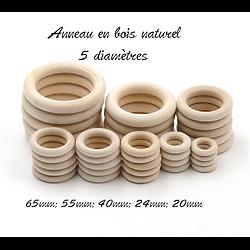 Anneau en bois naturel non peint, non traité, non verni - 6 diamètres