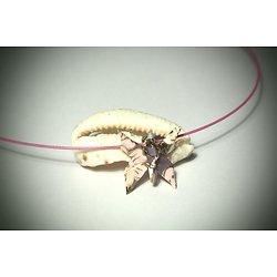 """Collier ras de cou papillon """"Hirahira"""", origami rose, mauve et or"""