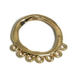 Grand pendentif / connecteur en métal doré effet irrégulier 46,5x46,5mm