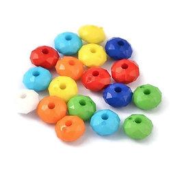 20 perles rondelles multicolores en acrylique 8x5mm