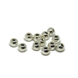 10 perles rondes en métal argenté 4mm