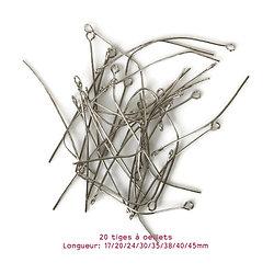20 clous à oeillet en métal argenté 18/20/24/30/35/38/40/45mm