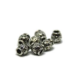 5 perles tonneau gravées fleurs en métal argenté massif 6.5x5.5mm