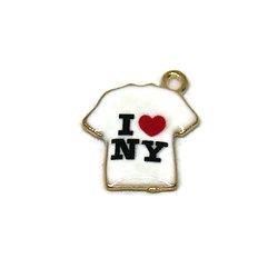"""Breloque T-Shirt """"I love NY"""" en métal doré et émail 16x18mm"""