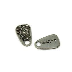 """2 Breloques étiquette """"Imagine"""" en métal argenté 22x14mm"""
