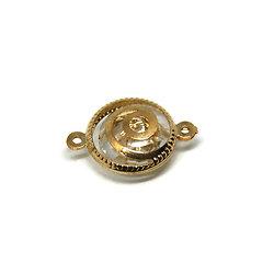 Connecteur rond et spirale en métal doré et pastille diamant 25x18mm