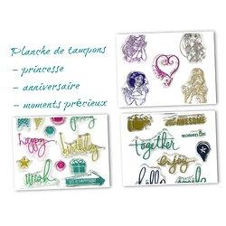 Planche de tampons en silicone - Princesse / anniversaire / moments précieux