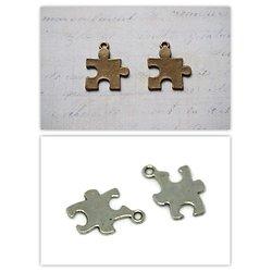 2 breloques pièce de puzzle en métal