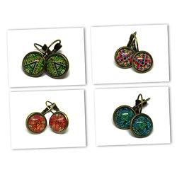 """Boucles d'oreille """"Batik"""" - dormeuses sur cabochon rond bronze et verre"""