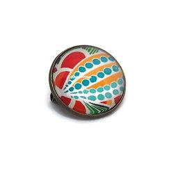 Mini broche / badge en métal bronze et dôme de verre - Wax me - tons de jaunes, turquoises et rouges