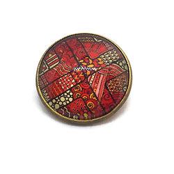 Mini broche / badge en métal bronze et dôme de verre - motifs Batik
