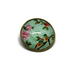 """Mini broche / badge en métal bronze et dôme de verre - motifs printaniers """"oiseaux de mon jardin"""" - tons de verts et multicolores"""