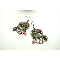 """Boucles d'oreille """"My vintage sister"""" * boucles d'oreille en bronze, et multicolores aux perles de pierres et lunettes vintage"""