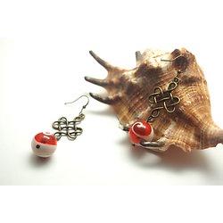 """Boucles d'oreille """"Mare nostrum"""" * Boucles d'oreille en bronze et perle ronde de coquillage orange et blanche"""
